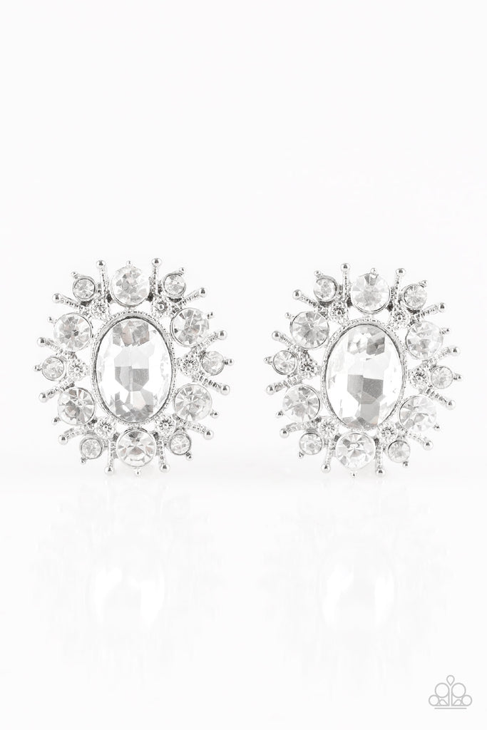 Paparazzi Serious Star Power - White Pierced Earrings