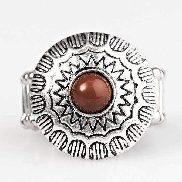 """Let's Get Lost"" Brown Bead Silver Sunburst Ring"