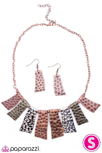 """A Fan Of The Tribe"" Copper Silver Brass Abstract Necklace & Earring Set"
