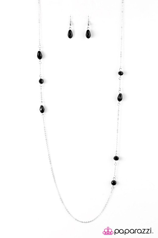 """Elegance Never Fades - Black"" Glittery Black Beads Silver Necklace & Earrings Set"
