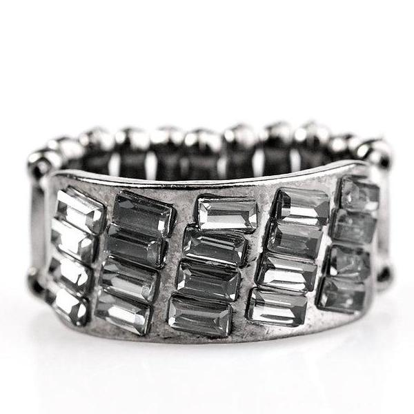 """It's Your Move"" Gunmetal Emerald Cut Stones Ring"