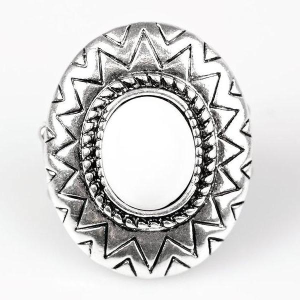 """Make Your Own Sunshine"" White Bead Sunburst Silver Ring"