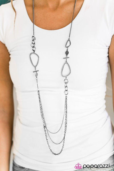 """Abstract Attitude"" Black Gunmetal Accent Layered Necklace & Earring Set"