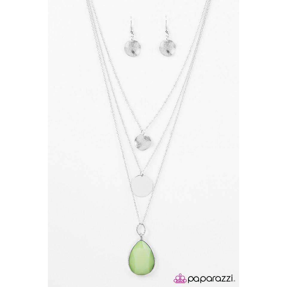 """RAIN Supreme"" Faceted Green Teardrop Silver Necklace & Earring Set"