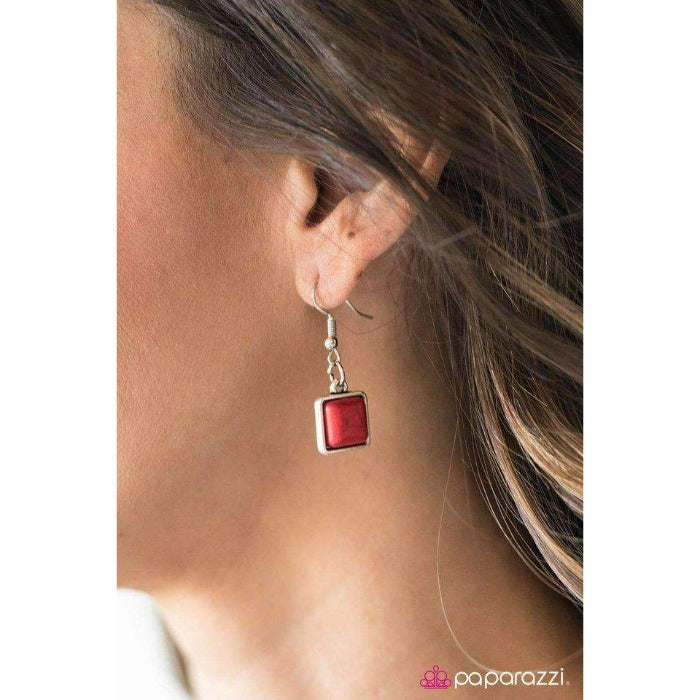 """Fierce Fascination - Red"" Square Red Stone Silver Necklace & Earring Set"