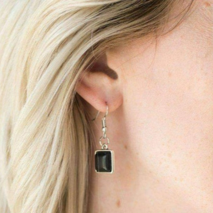 """Fierce Fascination"" Square Black Stone Silver Necklace & Earring Set"