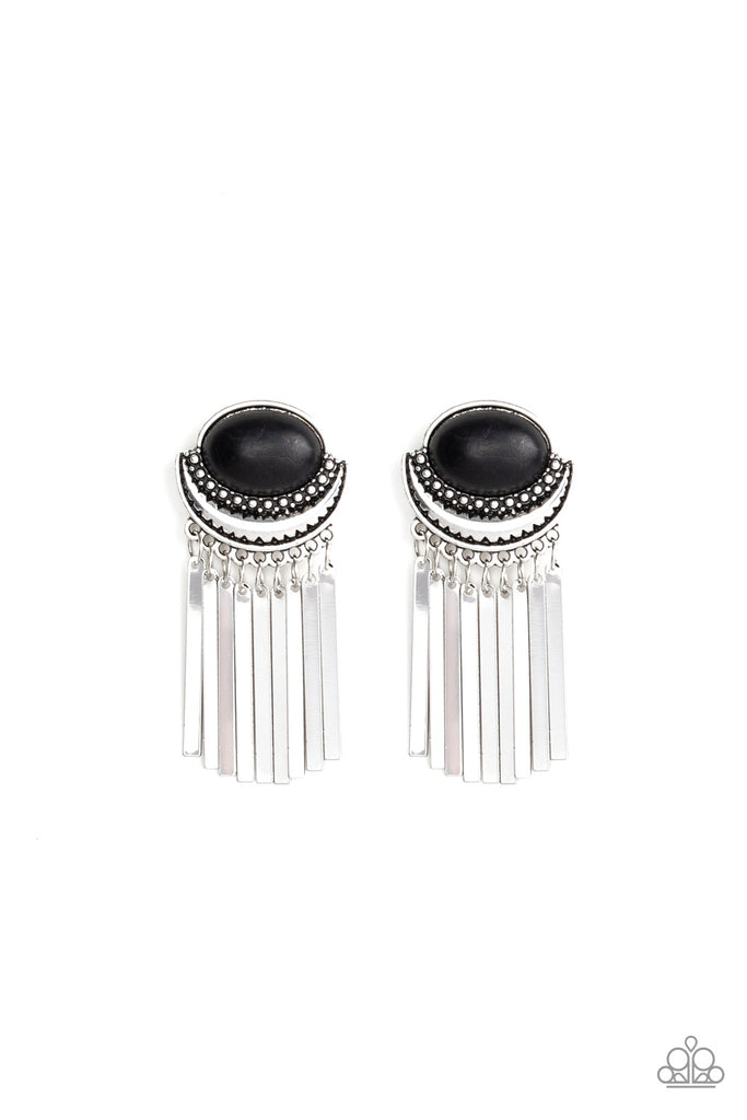Paparazzi Monsoon Season Black Pierced Earrings