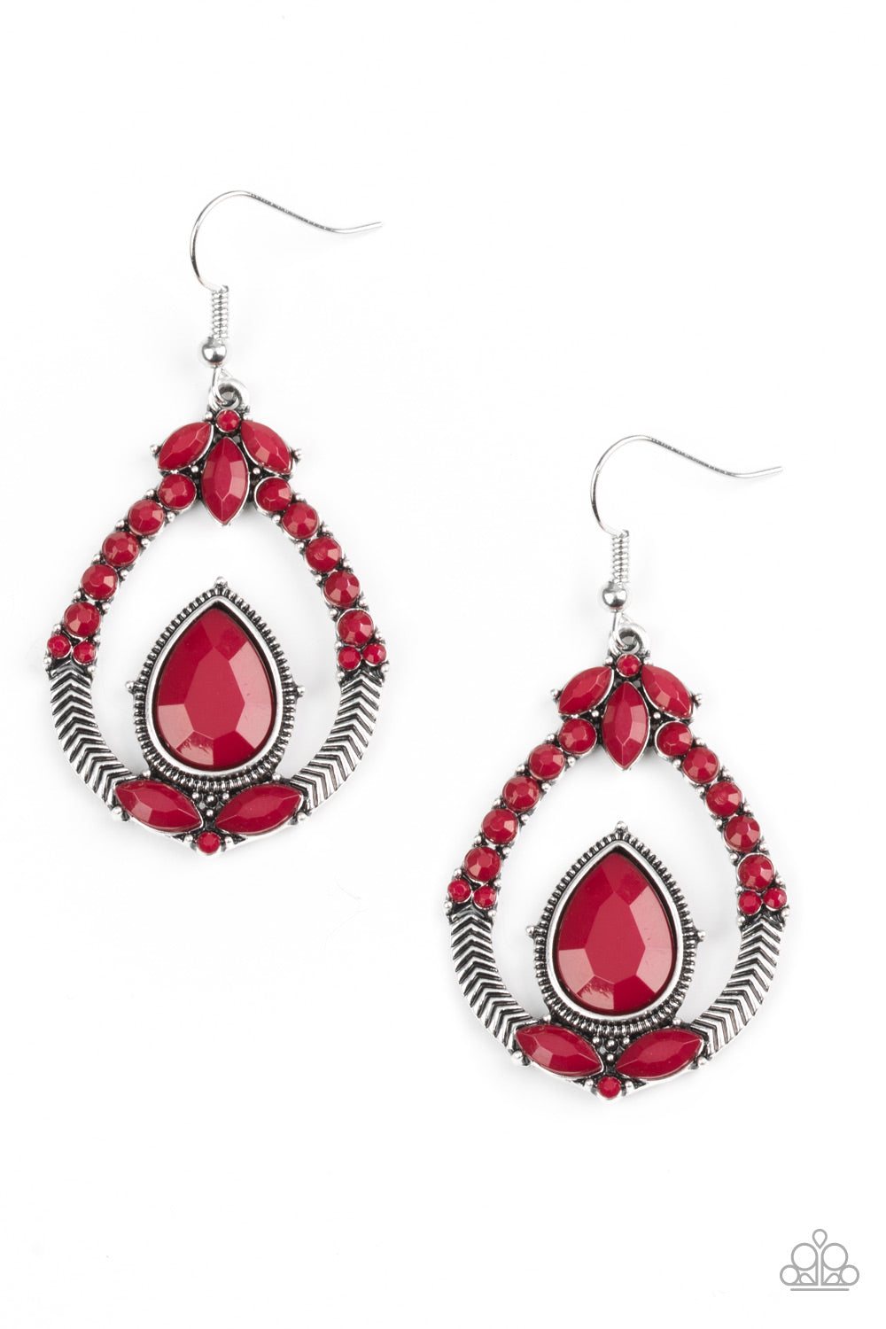 """Vogue Voyager"" Red Beaded Pierced Earrings"
