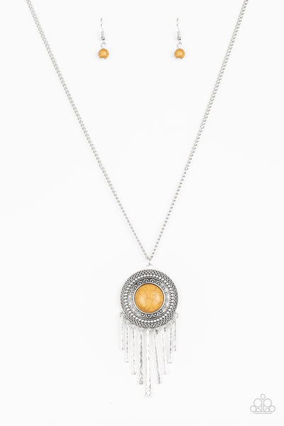 """Bon VOYAGER - Yellow"" Earthy Stone Silver Disc Necklace & Earrings Set"