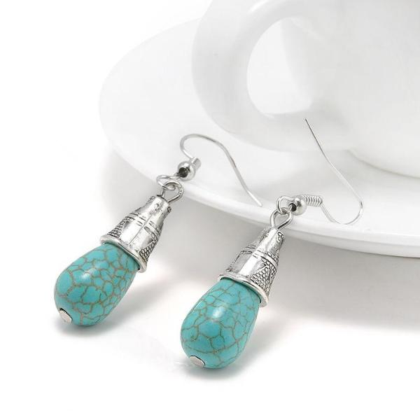 Turquoise Blue Tibetan Silver Vintage Drop Dangle Earrings
