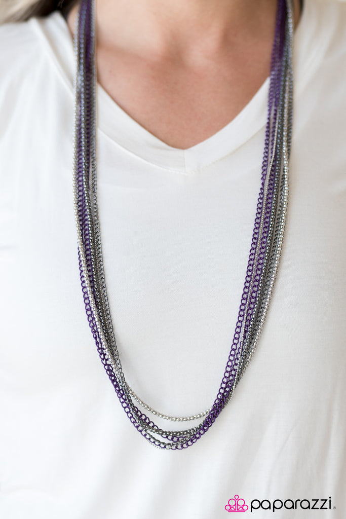 Paparazzi Colorful Calamity - Purple Necklace & Earrings Set