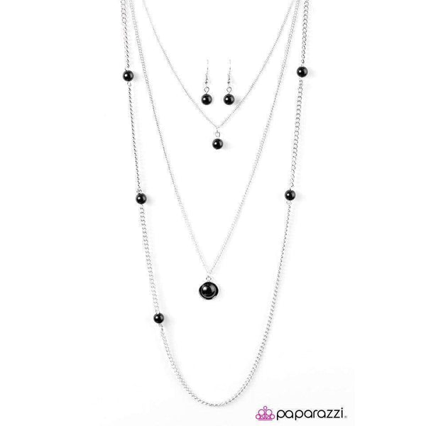 Paparazzi Runway Shine Black Beaded Silver Necklace & Earring Set