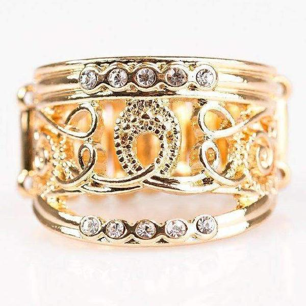 """I Feel REFINED"" Gold Filigree & White Rhinestone Ring"