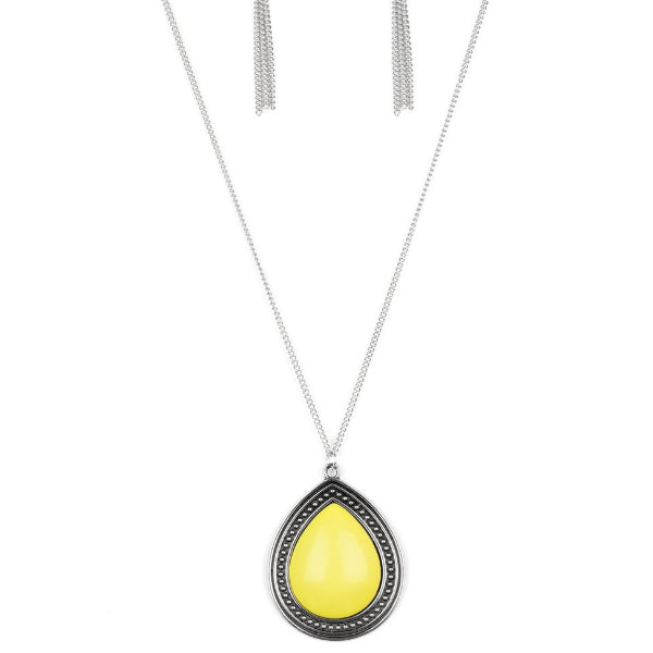 """Chroma Courageous - Yellow"" Long Necklace & Earrings Set"