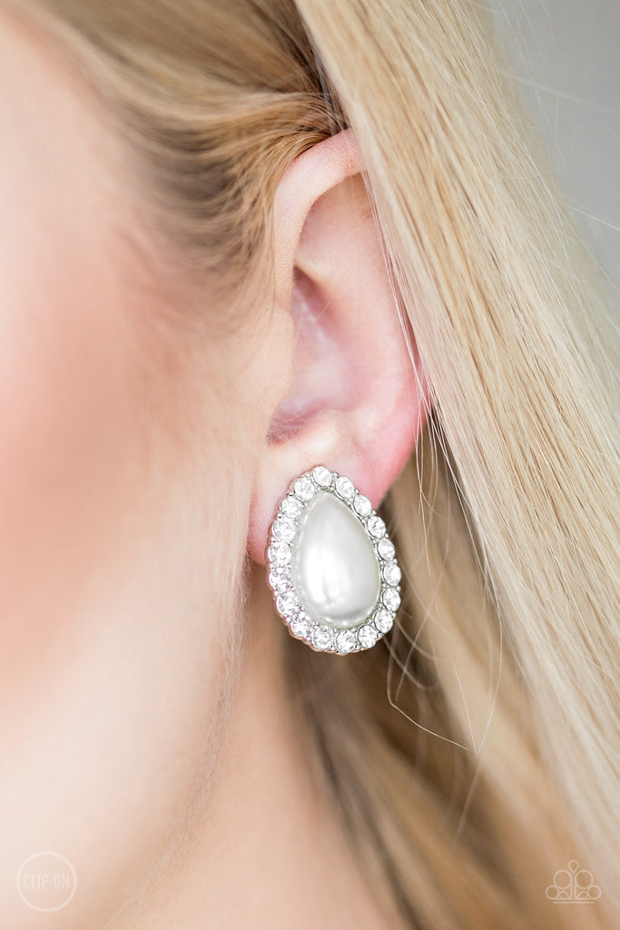 Paparazzi Dapper Dazzle White Clip-On Pierced Earrings