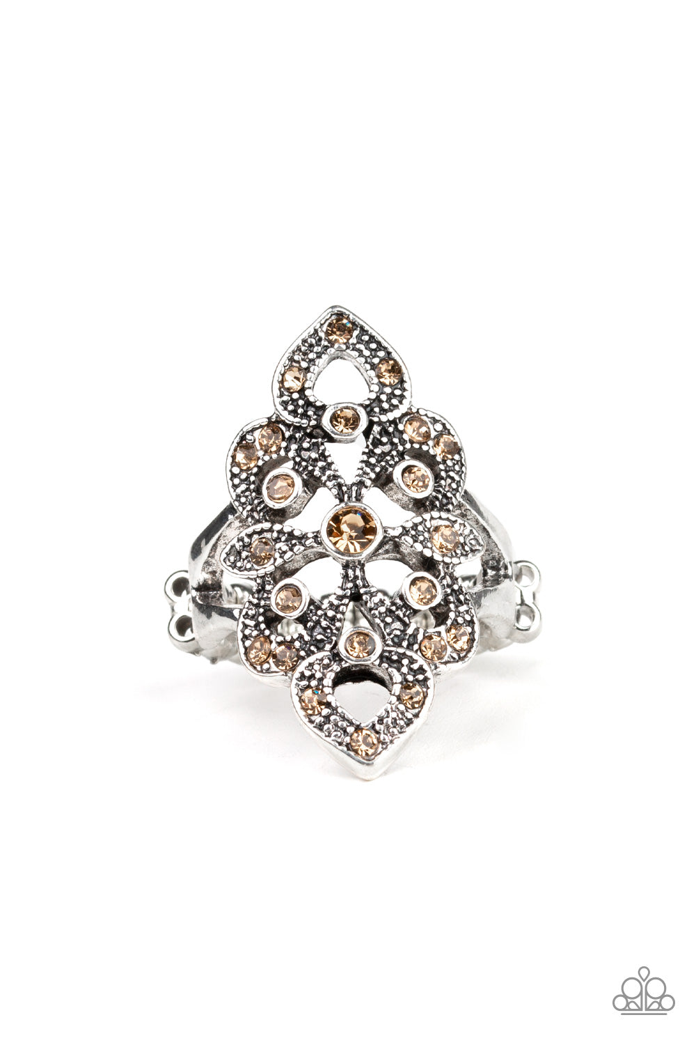 "Paparazzi ""Princess Priss- Brown"" Rhinestone Stretch Ring"