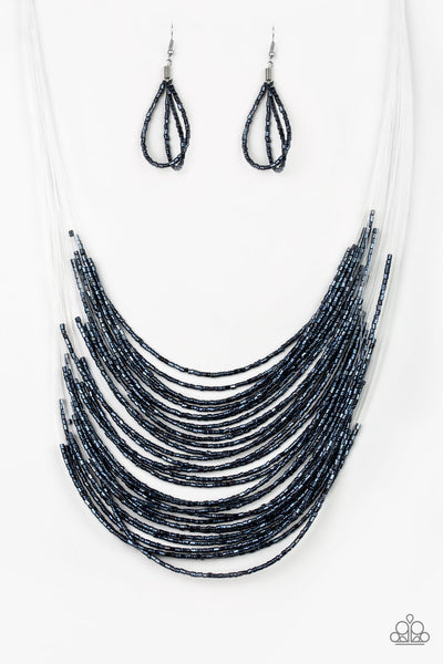 """Catwalk Queen"" Metallic Blue Seed Bead Necklace Earrings Set"