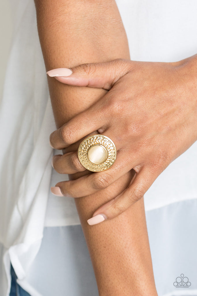 """Garden Garland - Gold"" Faux Moonstone Stretch Ring"