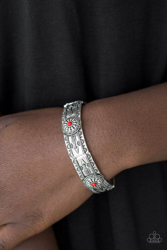 Paparazzi Southern Borders Red Embossed Silver Bracelet