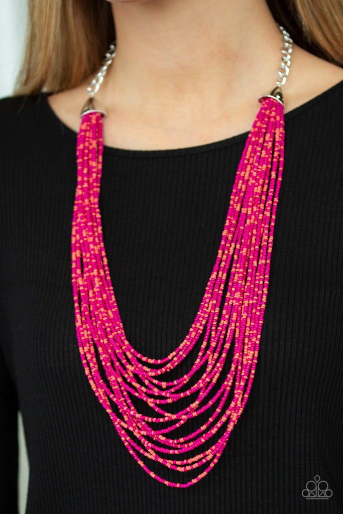"""Peacefully Pacific - Pink"" Seed Beads Necklace & Earrings Set"