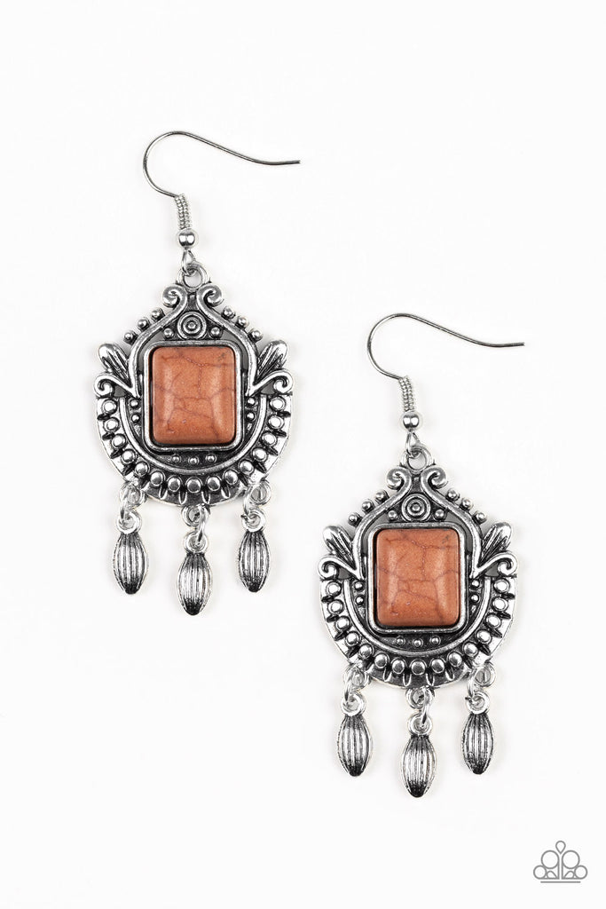 """Open Pastures - Brown"" Ornate Silver Earrings"