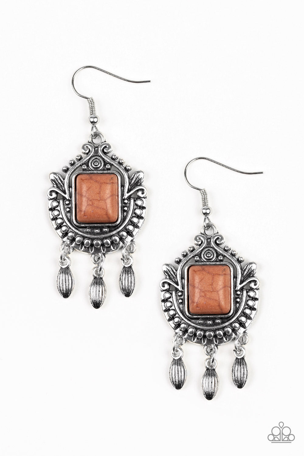 Paparazzi Open Pastures Brown Ornate Silver Earrings