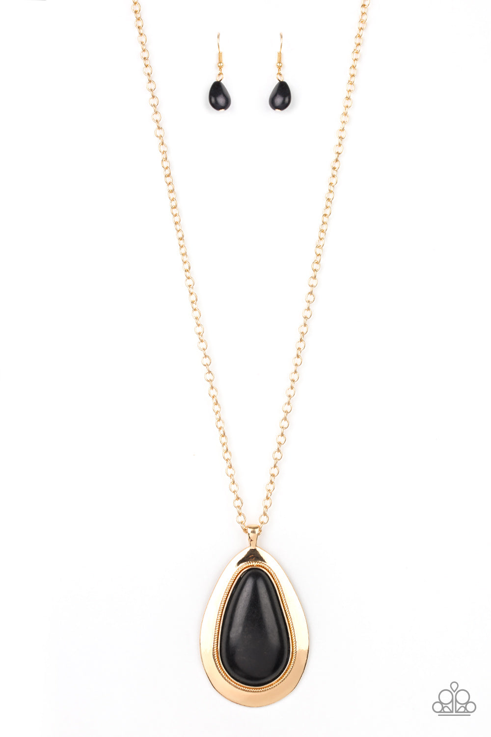 """BADLAND To The Bone - Gold"" Black Teardrop Stone Necklace & Earrings Set"