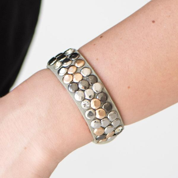 """Don't Step On A Crack"" Gray Leather Studs & Rhinestone Bracelet"