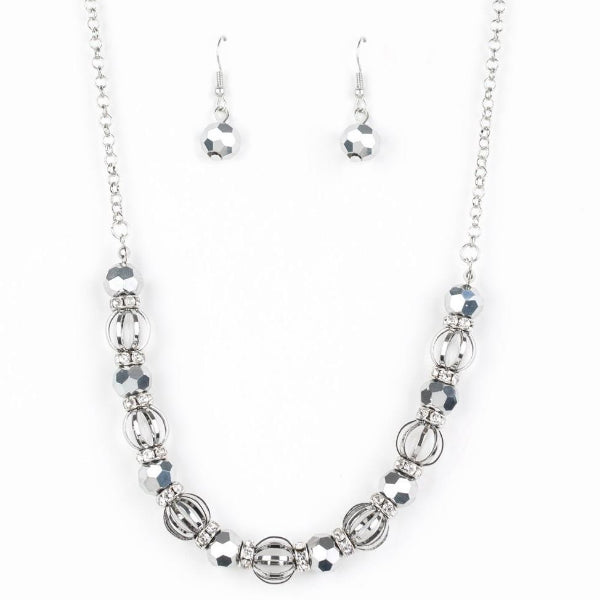 Paparazzi Metro Majestic Silver Necklace & Earrings Set