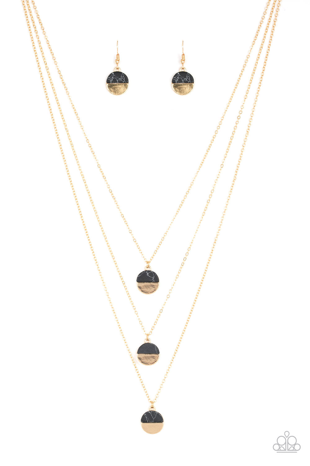 Paparazzi Rural Reconstruction Black 3 Strand Necklace & Earrings Set
