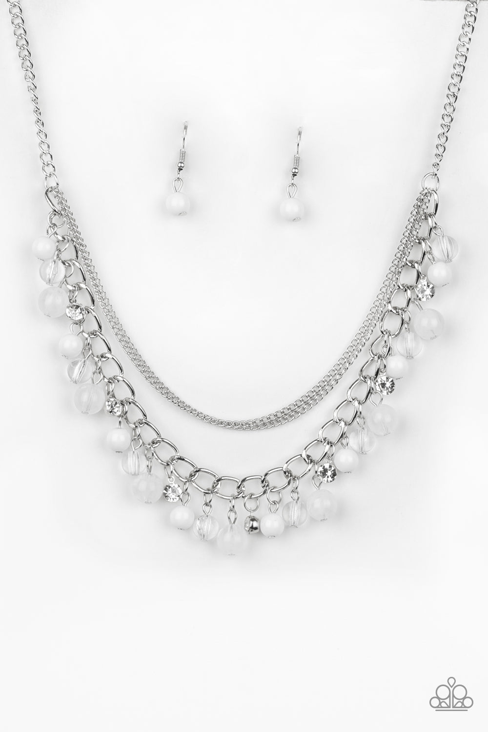 """Wait and SEA - White"" Necklace & Earrings Set"