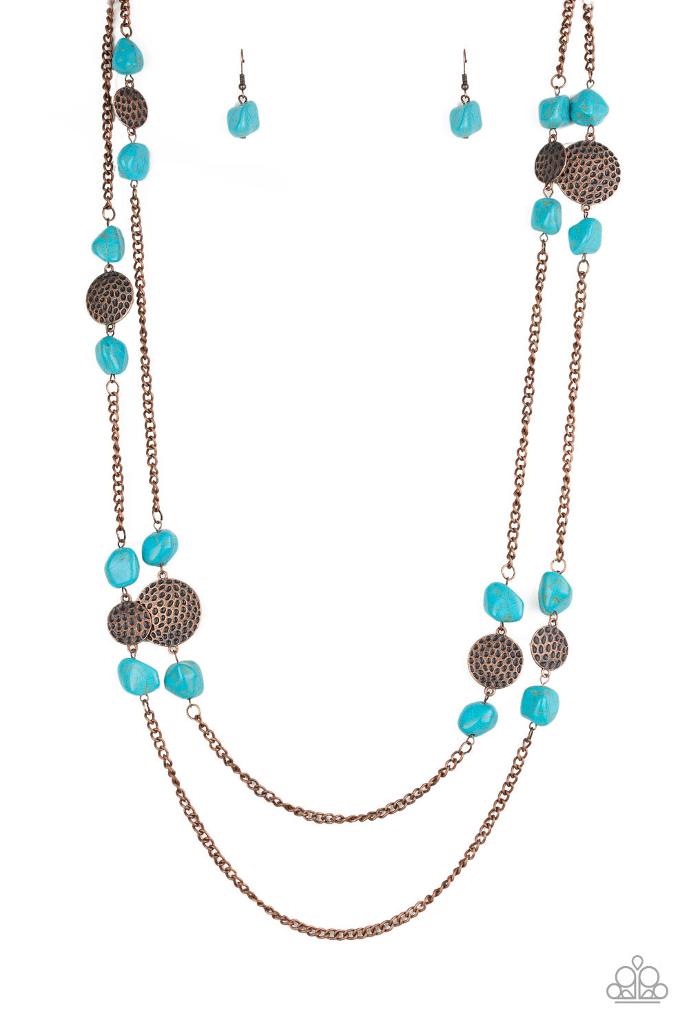 """Mountain Movement - Copper"" Turquoise (Faux) Necklace & Earrings Set"