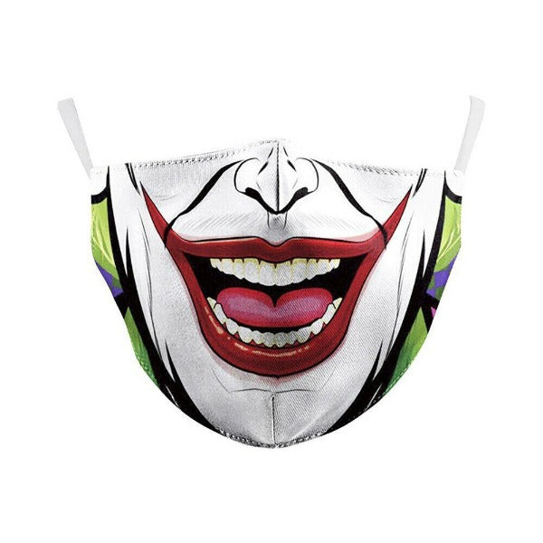 Face Mask Joker Halloween Reusable Washable Adult Unisex Filter Pocket