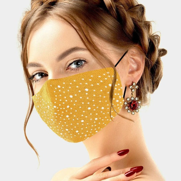 Face Mask Mustard Yellow Rhinestone Cloth Adult Unisex Filter Pocket