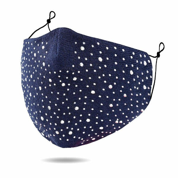 Face Mask Navy Blue Rhinestone Reusable Washable Cloth Adult Filter Pocket
