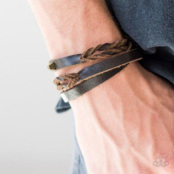 """Toughen Up"" Brown Leather Men's Unisex Urban Bracelet"
