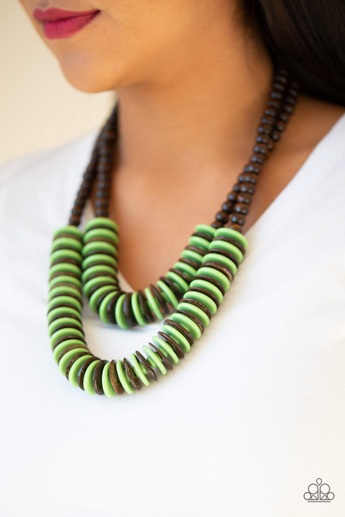 """Dominican Disco - Green"" Wooden Necklace & Earrings Set"