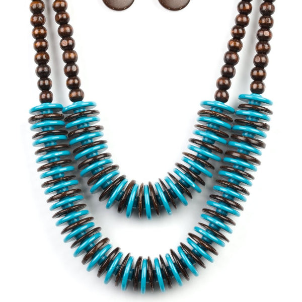 """Dominican Disco - Blue"" Wooden Necklace & Earrings Set"