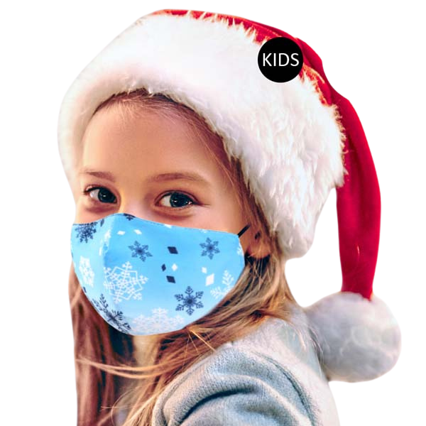 Kids Face Mask Snowflake Print 100% Cotton