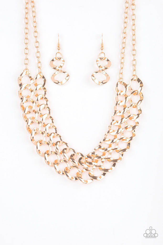 """Street Meet and Greet - Gold"" Necklace & Earrings Set"