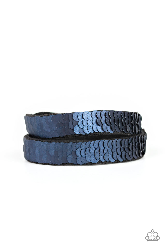 """Under The SEQUINS - Blue""  Double Wrap Bracelet"
