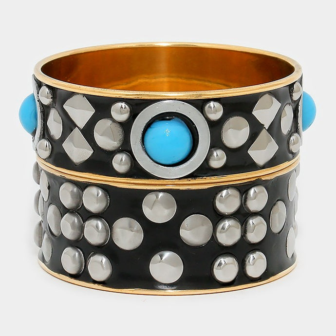 Turquoise Blue Gold, Rhodium Studded Bangle Bracelet 2 Piece Set