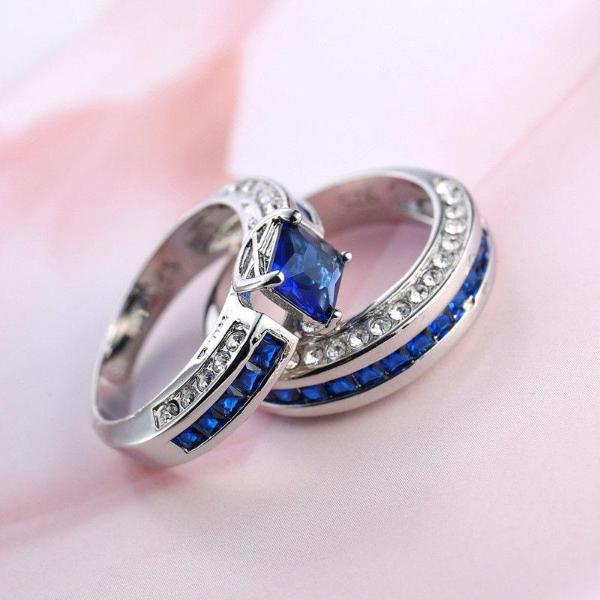 Simulated Blue & White Sapphire Silver 2 Piece Bridal Ring Set Size 7