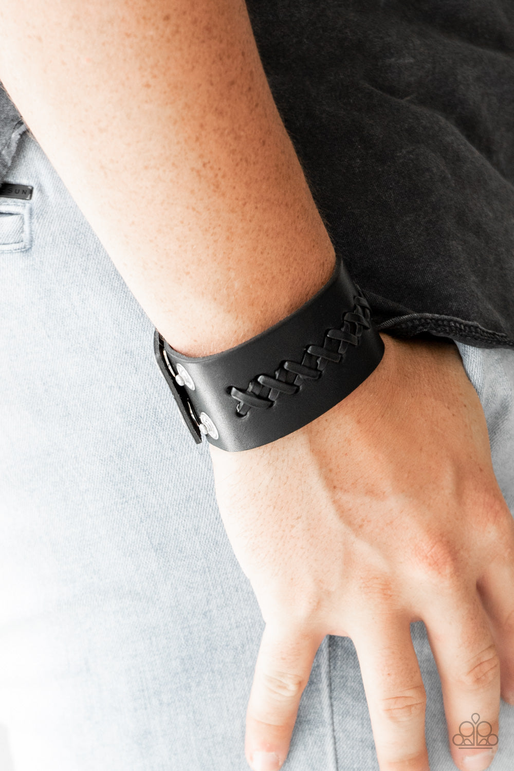 """Be A Sport - Black"" Laced Leather Bracelet"