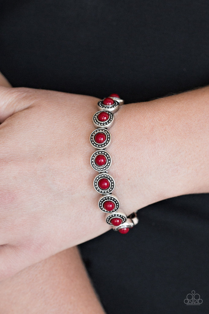 Paparazzi Globetrotter Goals Red Bead Stretch Bracelet