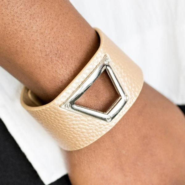Paparazzi Power Play - Gold Leather Wrap Bracelet