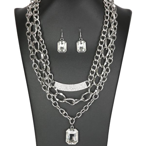 "ZI Collection ""The Stacy"" Large Emerald-cut Rhinestones Silver Necklace Earrings Set"