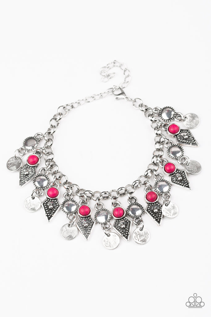"Paparazzi ""Triassic Trade Route - Pink"" Stone Accent Silver Fringe Bracelet"