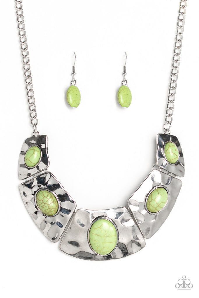 Paparazzi RULER In Favor Green Necklace & Earrings Set