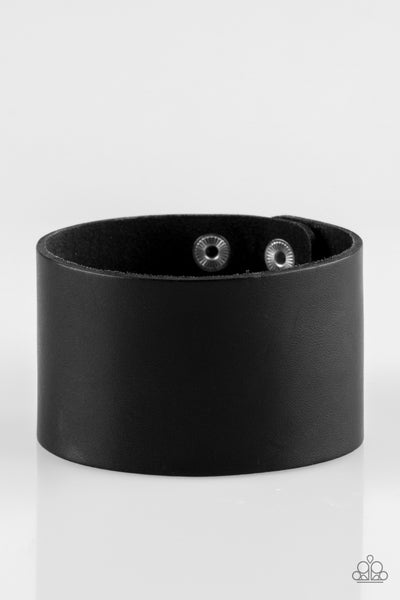 """Alley Rally"" Black Leather Men's Bracelet"